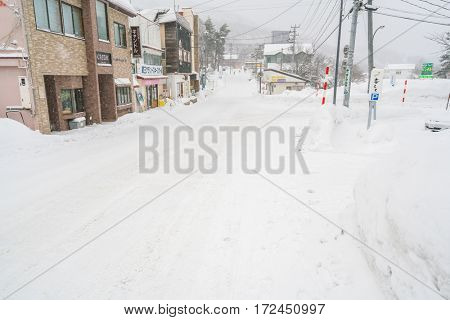 Yamakata, Japan - February 7, 2017: Road covered by snow in Zao Onsen town, Yamgata, Japan.