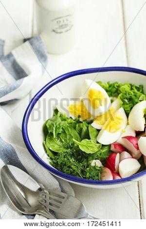 Spring vegetables salad served in bowl closeup