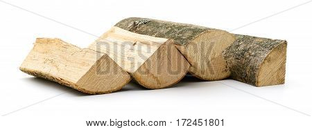 The logs of firewood isolated on white.
