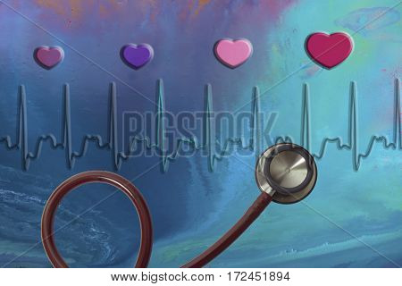 Stethoscope with coloured hearts on blue abstract background