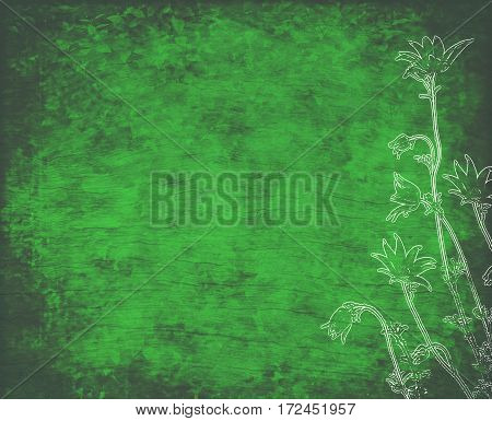 Vintage floral background with linocut style white vintage flannel flower illustration overlay on green foliage wood textured background