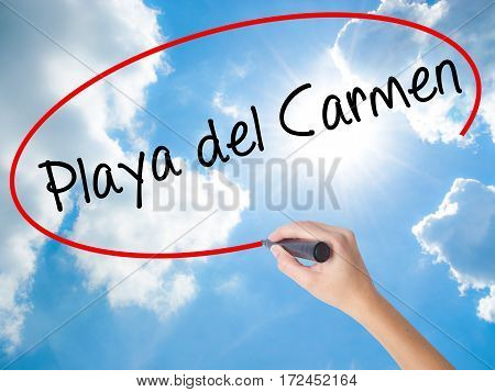 Woman Hand Writing Playa Del Carmen With Black Marker On Visual Screen