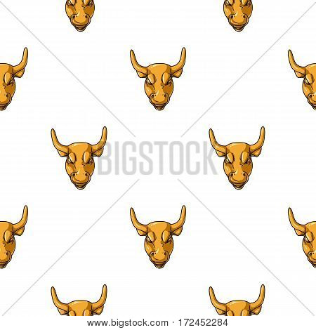 Golden Charging Bull icon in cartoon style isolated on white background. Money and finance pattern vector illustration.