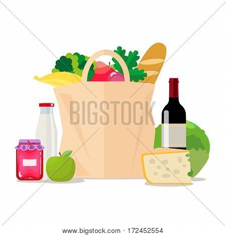 Paper bag with food. Shopping at the supermarket or grocery store. A set of healthy food. Vegetables and fruits, wine and cheese, milk and jam. Vector, isolated illustration in flat style EPS10