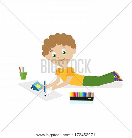 Boy lying on the floor drawing a picture with pencils or felt-tip pens. Flat character isolated on white background. Vector, illustration EPS10
