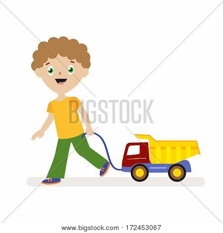 Boy with toy car on a string. Small child on a walk. Flat character isolated on white background. Vector, illustration EPS10
