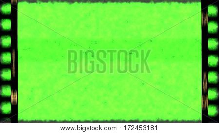 vintage old grunge film strip frame with chroma key green screen background