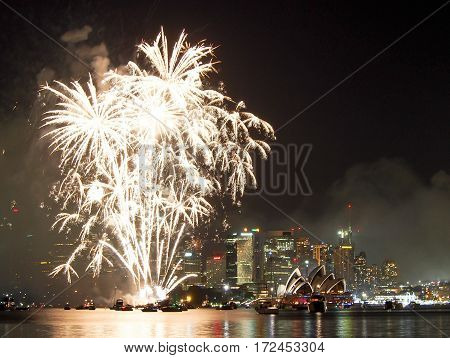 Sydney Harbor At New Years Eve