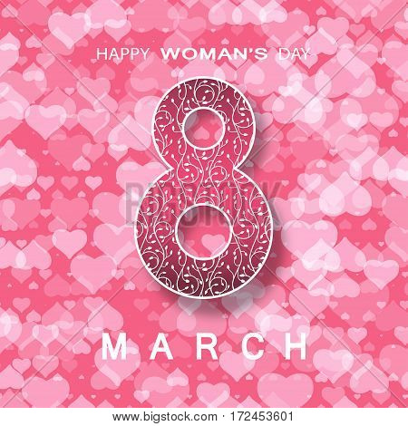 Vector poster for 8 of March Happy Woman's Day on the gradient pink background with hearts pattern and text.