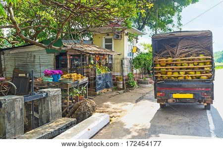 The truck laden with coconuts stands at the old fruit stall Madampe Sri Lanka.