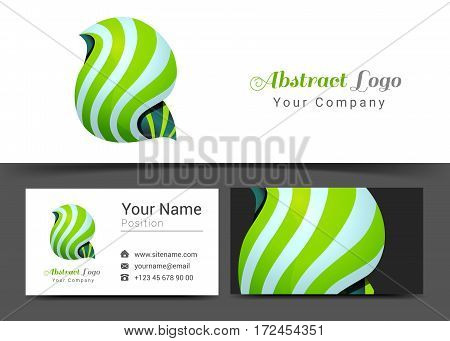 Tornado Corporate Logo and Business Card Sign Template. Creative Design with Colorful Logotype Visual Identity Composition Made of Multicolored Element. Vector Illustration.