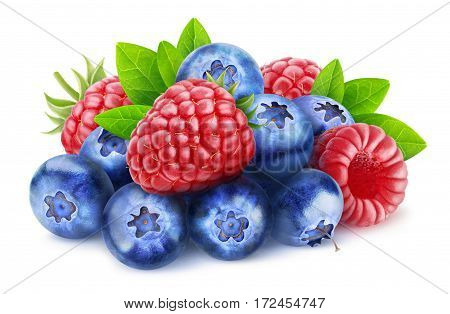 Isolated Blueberries And Raspberries