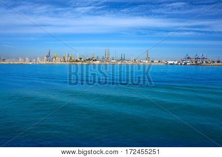 Valencia port and marina view from Pinedo at spain