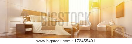 Sunny elegant hotel room panorama with bed in the morning (3D Rendering)