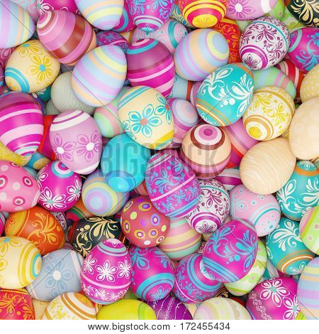 Colorful painted easter eggs background for easter (3D Rendering)