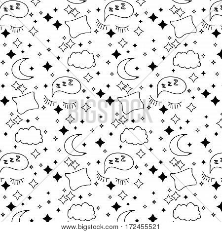 A hand drawn pattern of a moon,stars,a cloud,closed eyes and a pillow.Vector illustration.