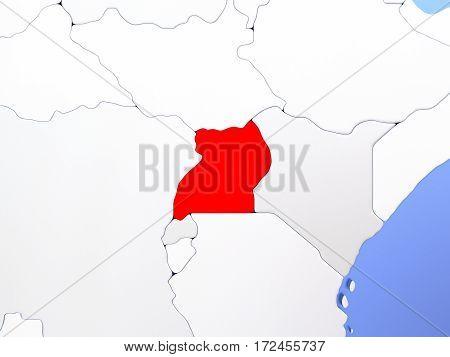 Uganda In Red On Map