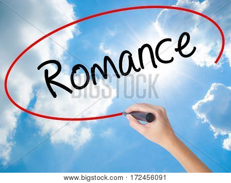 Woman Hand Writing Romance With Black Marker On Visual Screen