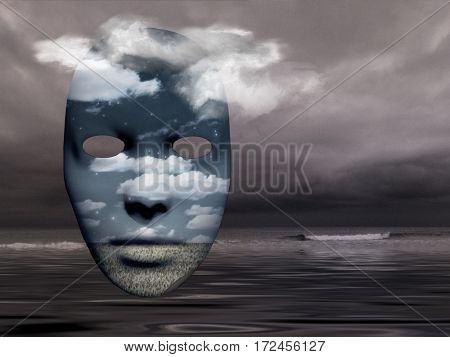 Mack with fields in cloudy sky  3D Rendered