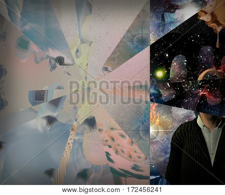 Symbolic abstract painting.   3D Rendered  Some elements provided courtesy of NASA
