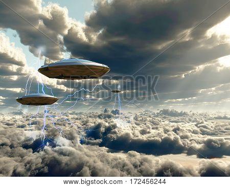 Flying spacecrafts in cloudy sky.  3D Render