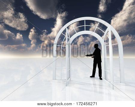 Arch doorway. Man's silhouette.  3D Render