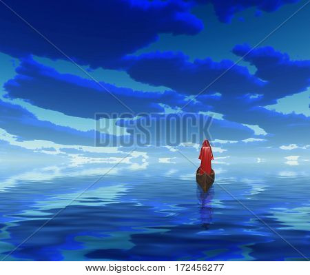 Figure in red cloak in a boat. Deep blue clouds are reflected in water.   3D Render