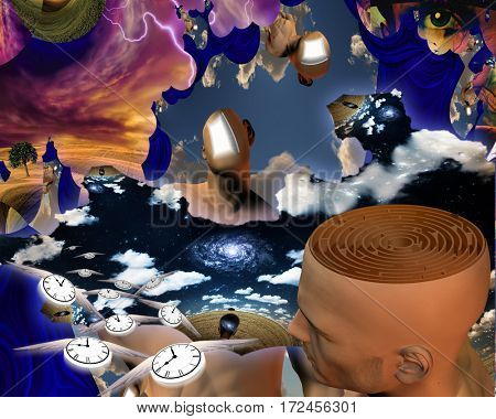 Surreal painting. Endless dimensions. Man's head with maze inside. Faces with opened door. Winged clocks represents flow of time.  3D Render  Some elements provided courtesy of NASA