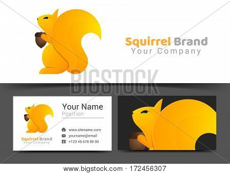 Squirrel Corporate Logo and Business Card Sign Template. Creative Design with Colorful Logotype Visual Identity Composition Made of Multicolored Element. Vector Illustration.