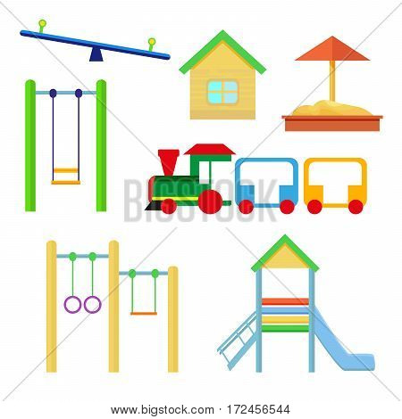 Set of objects to be placed on the playground. Slides and swings, sandpit and house, train. Vector, illustration in flat style isolated on white background EPS10