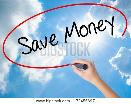 Woman Hand Writing Save Money With Black Marker On Visual Screen
