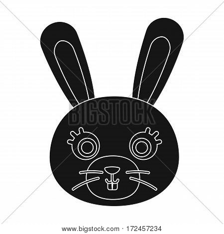 Rabbit muzzle icon in black design isolated on white background. Animal muzzle symbol stock vector illustration.