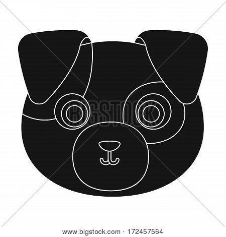 Dog muzzle icon in black design isolated on white background. Animal muzzle symbol stock vector illustration.
