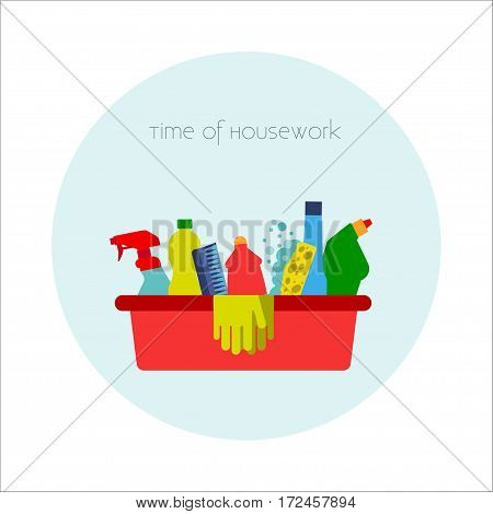 Household chemicals Vector illustration Red bucket with different household chemicals, brushes and gloves for housework Flat design