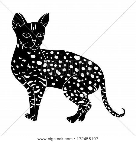 Savannah icon in black design isolated on white background. Cat breeds symbol stock vector illustration.