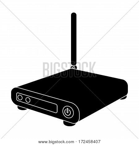 Router icon in black design isolated on white background. Personal computer accessories symbol stock vector illustration.