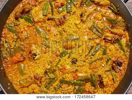 Paella from Spain chicken and rabbit rice recipe from Valencia