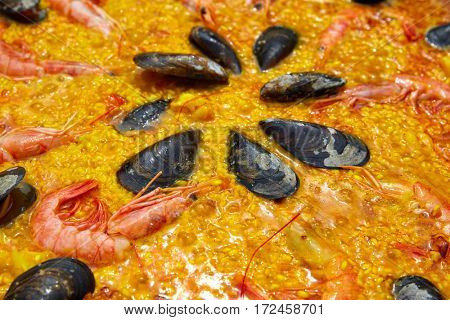 Seafood paella from Spain recipe of Valencia