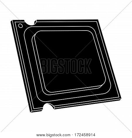 Central processing unit icon in black design isolated on white background. Personal computer accessories symbol stock vector illustration.