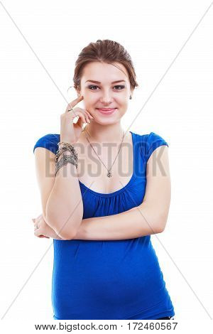 portrait of smiling pregnant woman looking at camera isolated on white background in photostudio