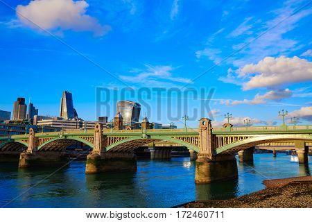 London Southwark bridge in Thames river UK