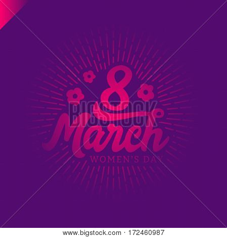 8 March Women's Day Greeting Lettering With Flowers And Place For Your Text Vector Illustration