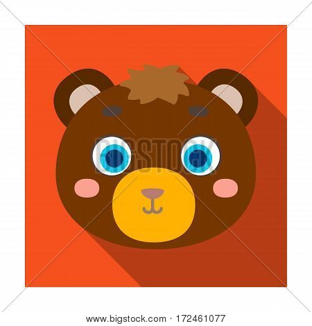 Bear muzzle icon in flat design isolated on white background. Animal muzzle symbol stock vector illustration.