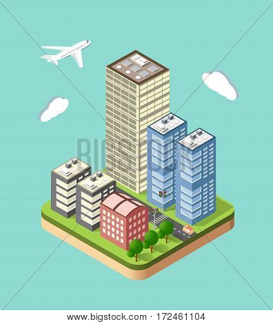 Flat 3d isometric urban city infographic concept. Town center map with buildings shops and roads on the plane.