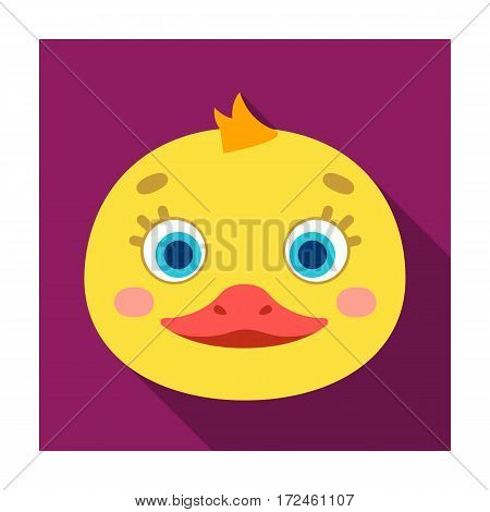 Duck muzzle icon in flat design isolated on white background. Animal muzzle symbol stock vector illustration.