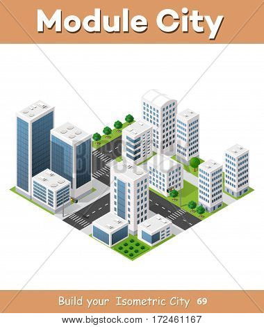 Flat 3d isometric urban city infographic concept. Township center map with buildings shops and roads on the plane.