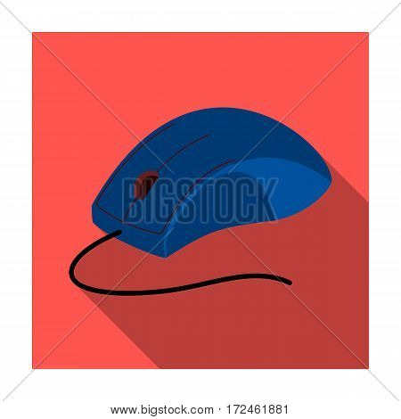 Computer mouse icon in flat design isolated on white background. Personal computer accessories symbol stock vector illustration.