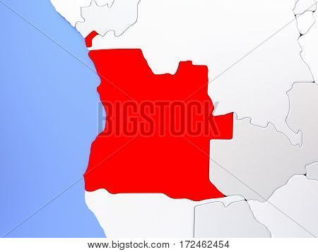 Angola In Red On Map