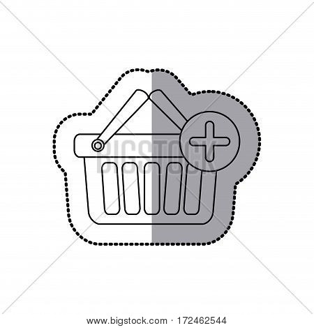 sticker silhouette with shopping basket with two handle and plus sign vector illustration
