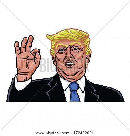 The 45th President of the United States. Caricature Cartoon Portrait of Donald Trump. Vector Illustration. February 21, 2017
